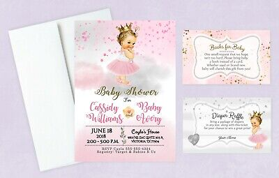 Baby Shower Invitations Books - Girl Baby Shower Invitations Tutu Princess Diaper Raffle Book Cards Set of 20