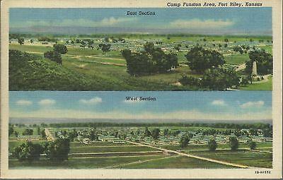 OLD VINTAGE CAMP FUNSTON AREA AT FORT RILEY KANSAS 1952 LINEN POSTCARD