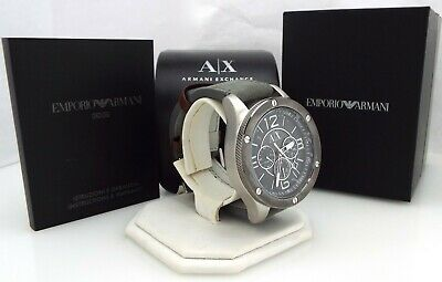 NEW Armani Exchange - AX1510 - Gray Leather - Men's Chronograph Watch ~#3090