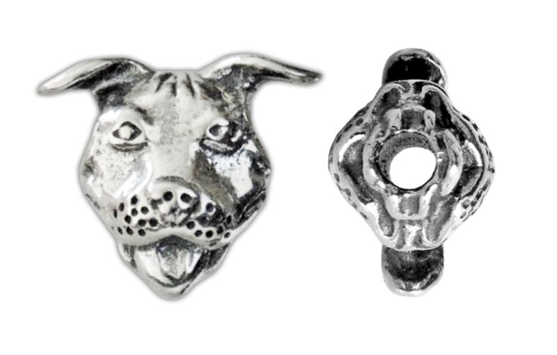 Sterling Silver Pit Bull Bead (Vertical Hole)