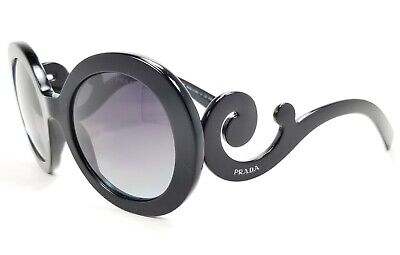 Prada SPR 27N MINIMAL BAROQUE 1AB-5W1 Black / Gray Polarized Sunglasses 55 mm