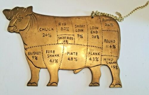 Vintage Butcher Shop Beef Cuts Solid Brass Cow 12 x 8