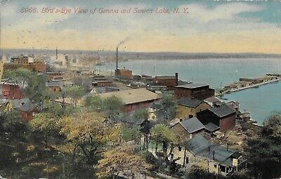 Bird's Eye View of Geneva and Seneca Lake NY vintage postcard postally used 1914