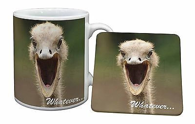 Ostritch with 'Whatever' Mug+Coaster Christmas/Birthday Gift Idea, AB-OS2MC