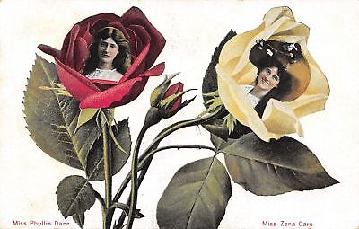 Famous Flower - Famous Faces Flower Fantasy~Miss Phyllis & Zena Dare in Rosebuds~1909 Postcard