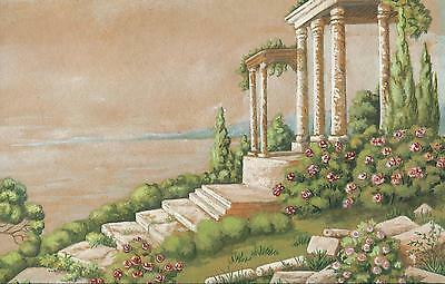 VINTAGE TOPIARY GARDEN ROSES ITALY GREECE ARCHITECTURE LANDSCAPE PASTEL PAINTING