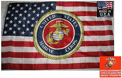 3x5 OFFICIAL USMC Marine Corps MARINES EMBLEM SEAL On US FLAG Banner*USA MADE