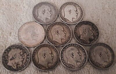 Edward VII ThreePence 1902-1910 Full Year Run 10 Silver Coins Set Lot 2
