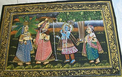 India Blue God Krishna Three India Women Fabric Painting Vintage
