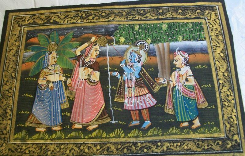 India Blue God Krishna Three India Women Fabric Painting Vintage