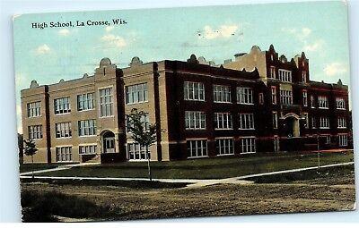 1911 High School Building La Crosse Wisconsin old Vintage postcard A83 ()