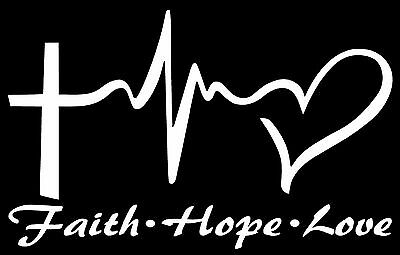 FAITH HOPE LOVE Vinyl Decal Sticker Car Window Wall Bumper Symbol Heart Cross 8