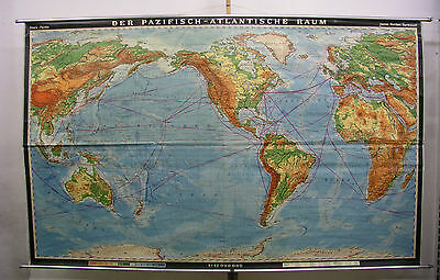 Wall Map Physical Map Amerika-Zentrisch without India 270x167 Vintage 1967