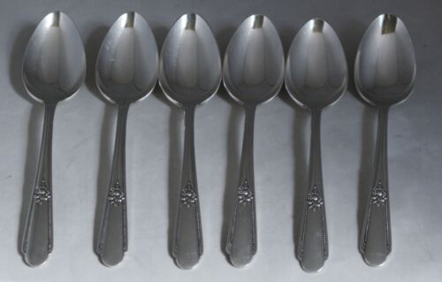 6 Wm Rogers Memory Hiawatha PLACE SPOONS OVAL SOUP Silverplate IS