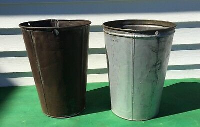 2 LARGE Old TIN SAP BUCKETS Tall GREAT DECOR Planters!