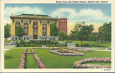 OLD VINTAGE HURON PARK AND PUBLIC LIBRARY IN KANSAS CITY KANSAS LINEN POSTCARD