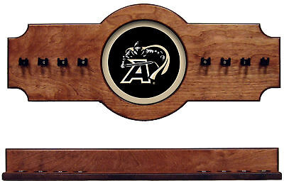 NCAA Army Black Knights 2 pc Hanging Wall Pool Cue Stick Holder Rack - Pecan