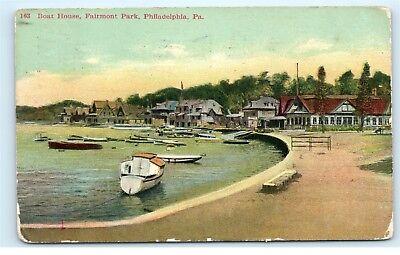 Philadelphia PA Fairmont Park Boat House Boats in Harbor Vintage Postcard A63