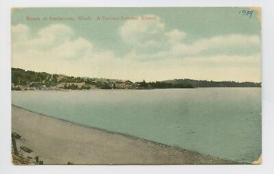 Postcard - Steilacoom, WA - Early 1909 View of Beach - Small Resort Town - C