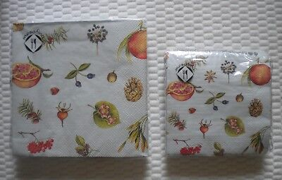 - 20 Mesafina Napkins Autumn Fruit Berries Theme Cocktail or Luncheon 3 ply FALL