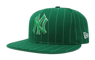 New Era Cap Pinstripe Cap (New Era 59Fifty Cap MLB New York Yankees Mens Womens Adult Green Pinstripe Hat)