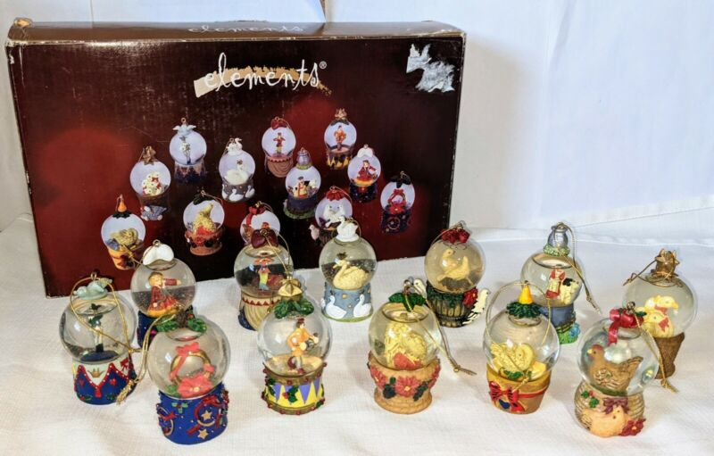 Elements Globe 12 Days of Christmas Waterballs Snow Globes 12 3