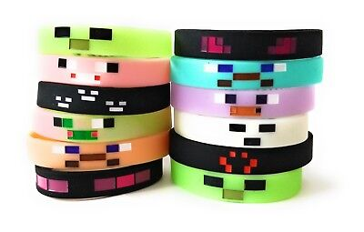 MINING PIXELATED Bracelets Kids Birthday Party Favors - GLOW IN THE DARK (12 - Mine Craft Party Supplies