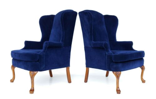 Pair of Vintage Queen Anne Style Blue Velvet Wingback Armchairs