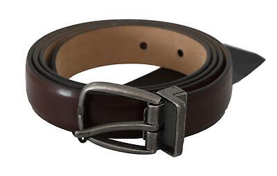 DOLCE & GABBANA Belt Brown Calfskin Leather Silver Buckle s. 105cm / 42in $320