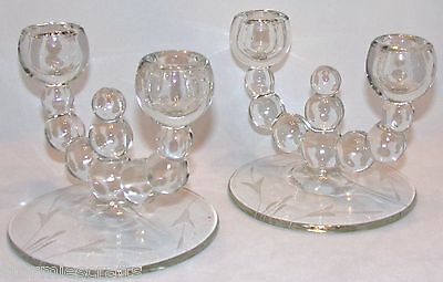 (Candlestick Holders 1960's a Pair Holds 4 Candles Etched with Cattails on rims)