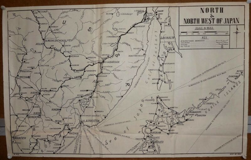 """India WW2 war map poster North And North West Of Japan 17""""x27"""""""