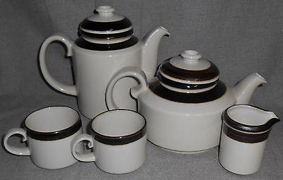 5 pc Set Arabia KARELIA PATTERN Coffee Pot/Teapot/Creamer/Two Cups FINLAND