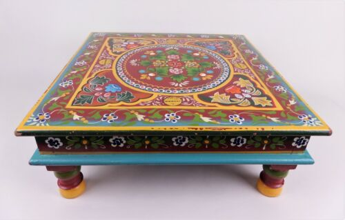 Vintage Low Wooden Tea Table Hand Painted Footstool Plant Stand Maroon Teal