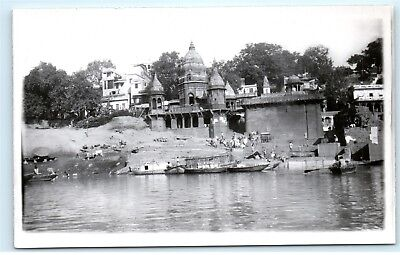 *India Indian Temple on Water RPPC Old Vintage Real Photo Postcard C48