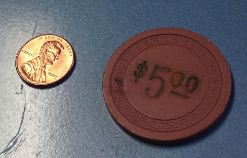 Vintage Illegal $5.00 Poker Chip Lookout House And Casino Covington, KY