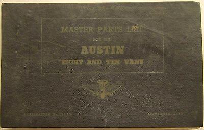 Austin Eight 8 & Ten 10 Vans AV.1 AV.1L original Master Parts List 1949 No 578