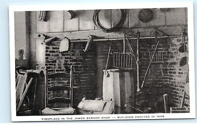 *Rockport Massachusetts Fireplace James Babson Shop Store Vintage Postcard C11
