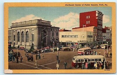 *Northeast Corner Public Square Bus York Pennsylvania PA Vintage Postcard B14