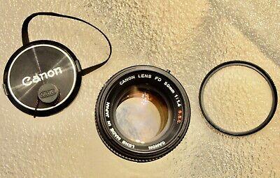 Canon Lens FD S.S.C. 50mm f-1.4  with lens cap and uv filter (((MINT)))