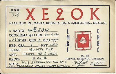 OLD VINTAGE XE90K BAJA CALIFORNIA MEXICO AMATEUR RADIO QSL CARD