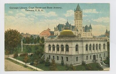 Postcard - Tacoma, WA - Early c1920 View Carnegie Library & State Armory - C