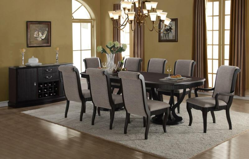 Formal Black Finish Grey Fabric Dining Table Set 9 Pcs Mcferran D1600