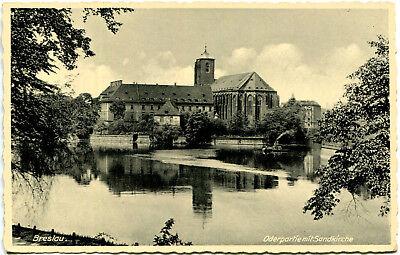 AK Breslau / Wroclaw ca. 1935 (?) Oderpartie mit Sandkirche