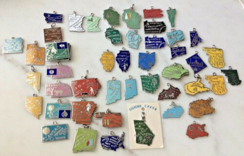 Vintage Sterling Silver & Cloisonné Enamel USA State Map Charms BUY Them ALL !
