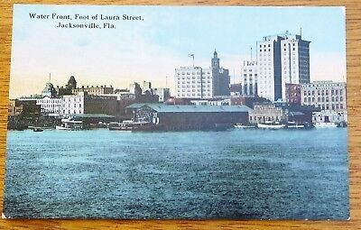 c1910 POSTCARD - WATER FRONT at FOOT of LAURA STREET  JACKSONVILLE,FLA.
