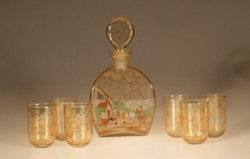 Vintage Deco Amber Czech Glass Decanter Set Hunt Scene 6 Tumblers c.1930