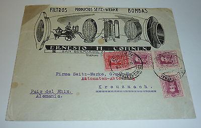 Madrid 1928 Brief mit Werbung Filter Filteranlagen Seitz-Werke Berlin Kreuznach
