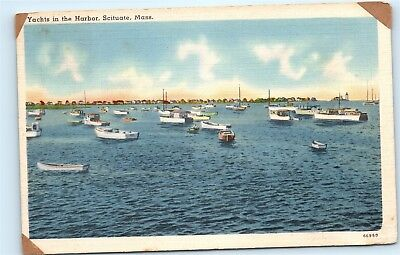 Scituate Massachusetts MA Yachts in Harbor Boats Boating Vintage Postcard B36