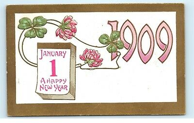 1909 January 1St Happy New Years Gold Border Old Vintage Antique Postcard B91