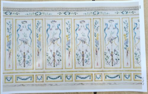 Dollhouse Wallpaper French Classical Style Birds Ribbon 1:12 Scale Itsy Bitsy